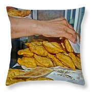 Tasty Hot Empanadas For Lunch In Angelmo Fish Market In Puerto Montt-chile Throw Pillow