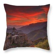 Tatev Monastery At Dawn Throw Pillow
