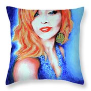 Tatiana With Pearls And Green Earring Throw Pillow
