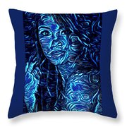 Tatto Lady With The Blues Throw Pillow