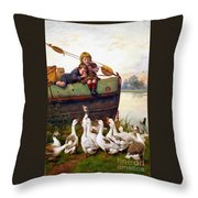 Taunting The Geese Throw Pillow