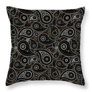 Taupe Brown Paisley Design Throw Pillow