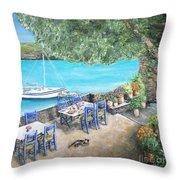 Taverna On Crete  Throw Pillow