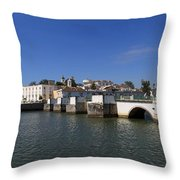 Tavira Ponte Romana And The River Throw Pillow