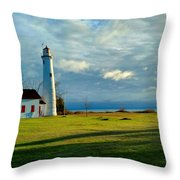 Sturgeon Point Lighthouse Throw Pillow