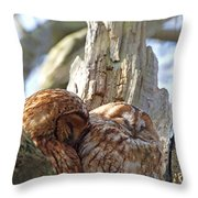 Tawny Owls In Love Throw Pillow
