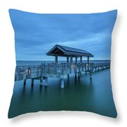 Taylor Dock Boardwalk At Blue Hour Throw Pillow