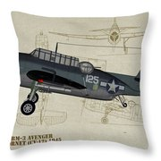 Tbm-3 Avenger Profile Art Throw Pillow