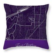 Tcu Street Map - Texas Christian University Fort Worth Map Throw Pillow