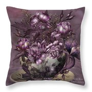 Tea And Roses Throw Pillow