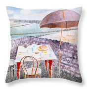 Tea At Furlongs Throw Pillow
