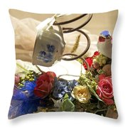 Tea Cup Bed Coil Floral Throw Pillow