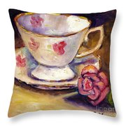 Tea Cup With Rose Still Life Grace Venditti Montreal Art Throw Pillow