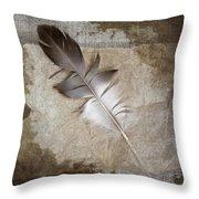 Tea Feather Throw Pillow
