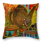 Tea Party With Klimt Throw Pillow