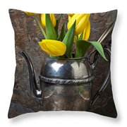 Tea Pot And Tulips Throw Pillow