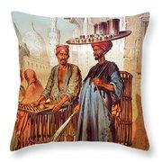 Tea Seller Throw Pillow