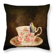 Tea Time With A Hummingbird Throw Pillow
