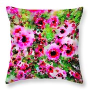 Tea Tree Garden Flowers Throw Pillow