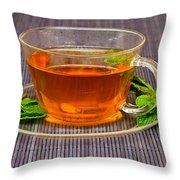 Tea With Mint Throw Pillow