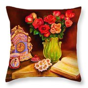 Teacup And Roses Throw Pillow