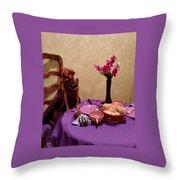 Teagun Rose French Cafe 3 Throw Pillow