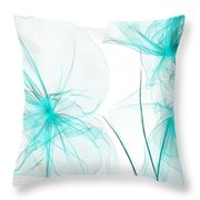 Teal Abstract Flowers Throw Pillow
