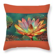 Teal And Peach Waterlilies Throw Pillow