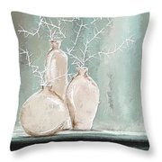 Teal And White Art Throw Pillow