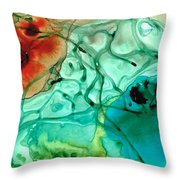 Teal Aqua Art - Connected - Sharon Cummings Throw Pillow