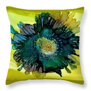 Teal Bloom Throw Pillow
