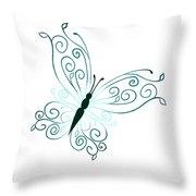 Teal Butterfly Throw Pillow