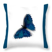 Butterfly Blur In Teal Blues Throw Pillow