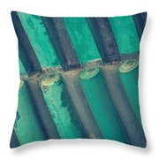 Teal Chinese Ceiling Throw Pillow