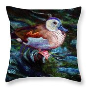 Teal Duck Of Naples Throw Pillow