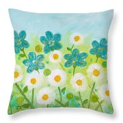 Teal Flowers And Daisies Throw Pillow