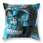 Teal Gem Art Skull Throw Pillow