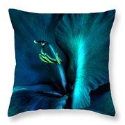 Teal Gladiola Flower Throw Pillow