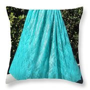 Teal Green Lace Skirt. Ameynra By Sofia Throw Pillow
