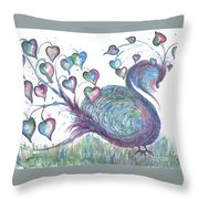 Teal Hearted Peacock Watercolor Throw Pillow