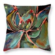 Teal Pink Succulent Throw Pillow
