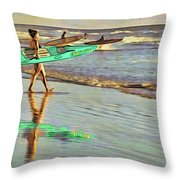 Teal Reflections Throw Pillow