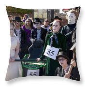 Team 55 At Emma Crawford Coffin Races In Manitou Springs Colorado Throw Pillow