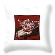 Teapot Calico Red Throw Pillow