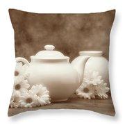 Teapot With Daisies I Throw Pillow