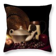 Teapot With Fruit Still Life Throw Pillow