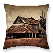 Teaselville Texas Barns Throw Pillow