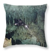 Technical Diver In Cave System, Mexico Throw Pillow