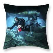 Technical Divers Enter The Cavern Throw Pillow by Karen Doody