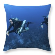 Technical Divers With Equipment Throw Pillow